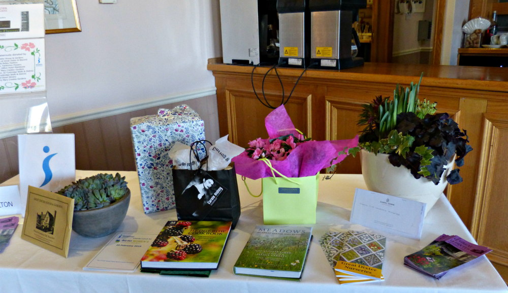 Raffle prizes generously donated by Great Dixter Chapel Down winery Hilton Hotel Carole Ridley Tankerton Flowers Louise Taylor Caroline Auckland and Mary Mary Creates Gardens